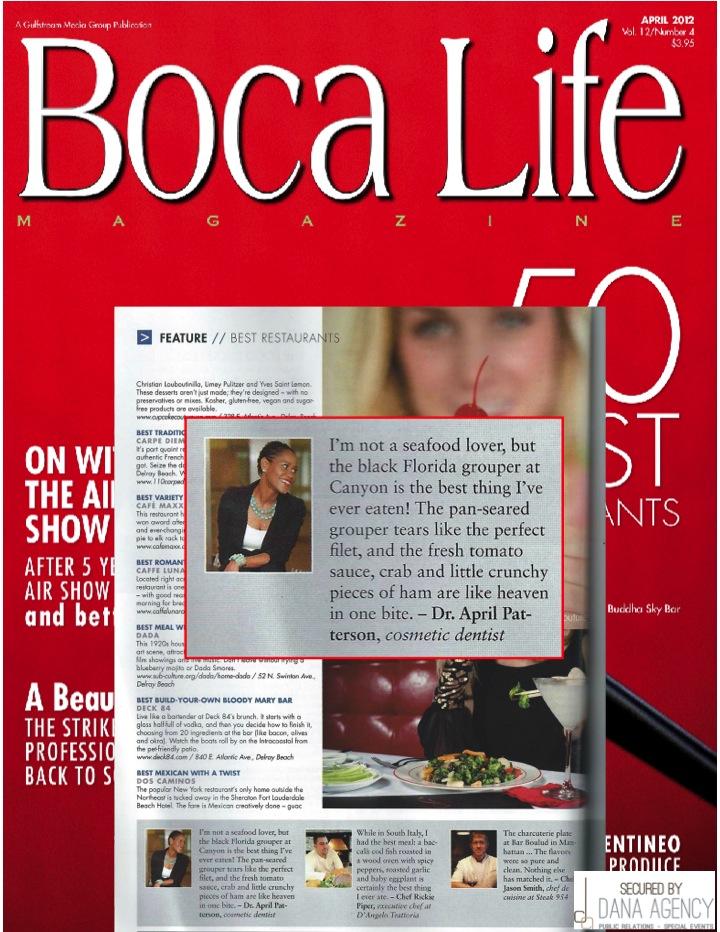 Dr. Patty in Boca Life Magazine April, 2012